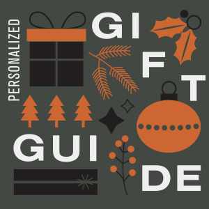 "vector image of white text ""personalized gift guide"" with decorative ornaments and a present"