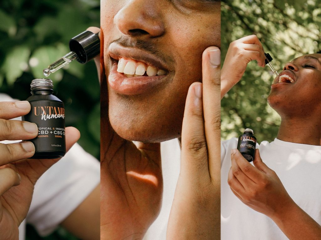 A triple frame of a Hemp Seed Oil product being opened in the first frame, rubbed on the face in the second frame, and ingested orally in the third frame.